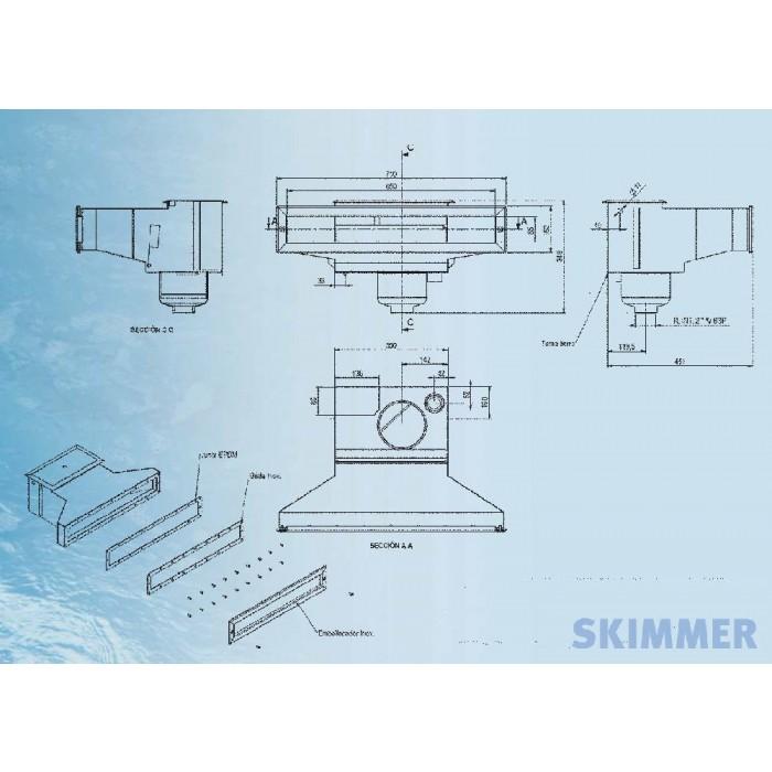 edelstahl flach skimmer 650 mm as direktshop mit poolshop saunashop cleanshop gastroshop. Black Bedroom Furniture Sets. Home Design Ideas